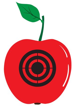 Illustration of a red apple with a target on a white background