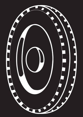 Illustration of the contour of the automobile wheel on a black background Çizim