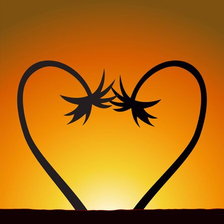Illustration of a heart from two palm trees at sunset