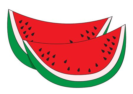 Illustration of two slices of ripe watermelon on a white background