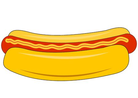Illustration of a big hot dog on a white background