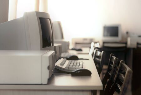 Image of a room with old computers stylized as an old photo with soft focus Stok Fotoğraf