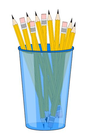 Illustration of a glass with pencils on a white background 写真素材 - 132051820