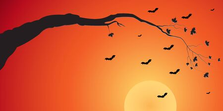 Illustration of silhouette of a tree branch and bats at sunset