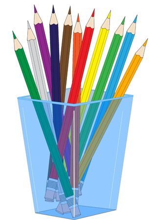 Illustration of a glass with colored  pencils on a white background