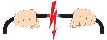 Illustration of two hands with electric wires and short circuit flash