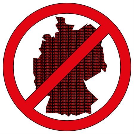 Illustration of Germany silhouette with the word virus in prohibitory sign