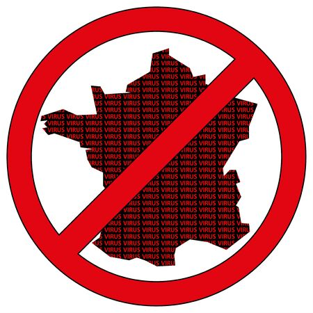 Illustration of France silhouette with the word virus in prohibitory sign