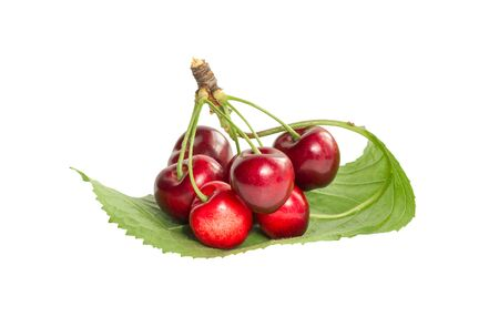 Bunch of ripe cherries on a green leaf isolated on white background 写真素材