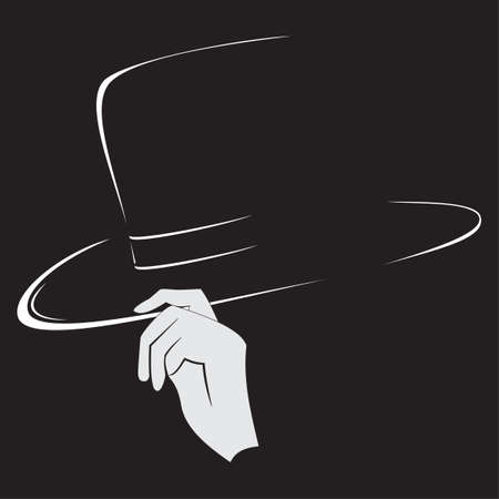 Illustration of hats contour and silhouette of the hand isolated on black background