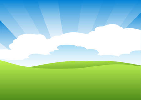 Landscape illustration of green field and cloudy sky with sunbeams