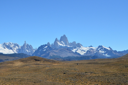 Distant view of Mount Fitz Roy on a sunny day