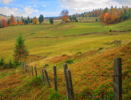 Typical Transylvanian landscape in autumn photo