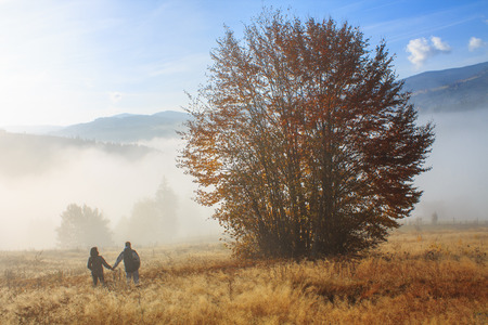 Lovers of nature at sunrise in Transylvania photo