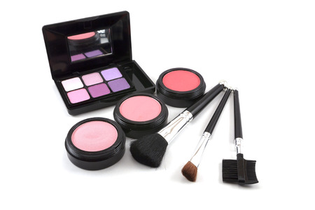 Makeup set on white background photo