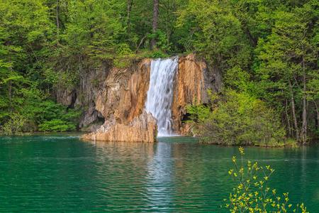 Waterfall in the Plitvice Lakes in Croatia  photo