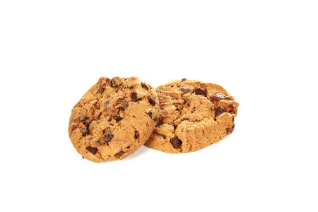 Chocolate chip cookies on white background  photo