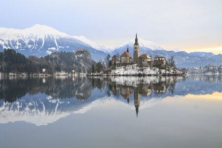 Winter landscape of Bled Lake in Slovenia photo