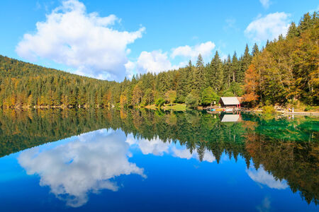 alpes: Beautiful Laghi di fusine lake in Italian alps