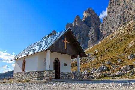 dolomite: Church in the Dolomite Mountains, Tre Cime di Lavaredo, Italy Stock Photo