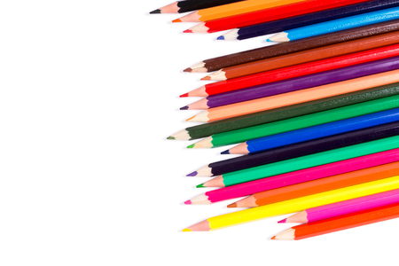 pencil point: Color pencils on white background Stock Photo