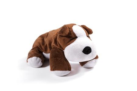 perros graciosos: Perro de la felpa en el fondo blanco