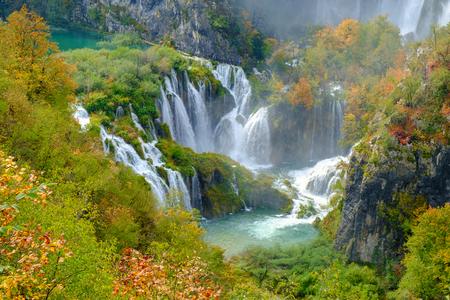 on lake: Waterfall the Plitvice Lakes in autumn, Croatia