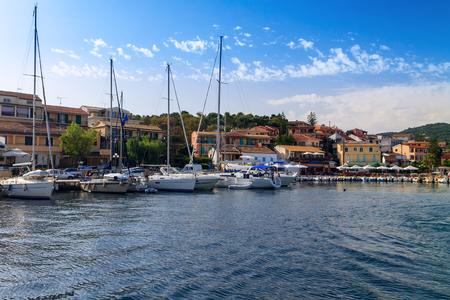 Boat harbor in Corfu Town in Greece