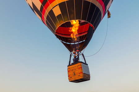Colorful hot air balloon early in the morning in Hungary
