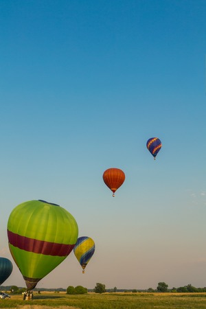 hot air balloons: Colorful hot air balloons early in the morning in Hungary Stock Photo