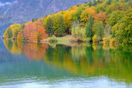 bohinj: Bohinj lake the Julian Alps in Slovenia Stock Photo