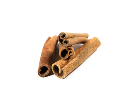 stick of cinnamon: Cinnamon stick on white background Stock Photo