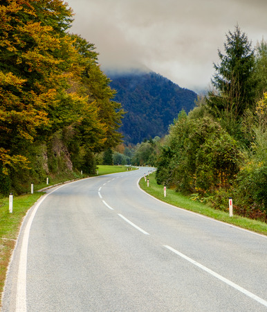 sinuous: Sinuous road through the mountains in Slovenia