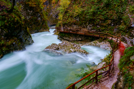 curlicue: Wonderful Vintgar canyon curlicue river and beautiful colors in Slovenia