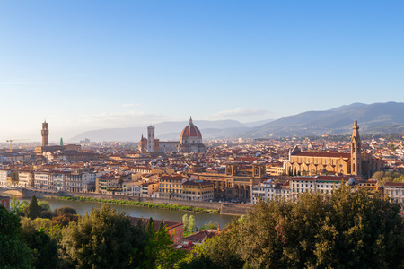 santa maria del fiore: Beautiful views of Florence cityscape in the background Cathedral Santa Maria del Fiore at sunset in Italy, Europe