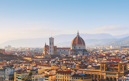 fiore: Beautiful views of Florence cityscape in the background Cathedral Santa Maria del Fiore at sunset in Italy, Europe