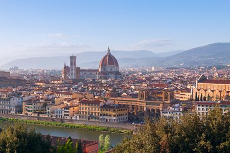 santa maria del fiore: Beautiful views of Florence cityscape in the background Cathedral Santa Maria del Fiore in Italy, Europe Editorial