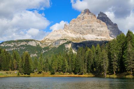 lago: Lago Di Antorno lake on the Dolomites in Italy, Europe Stock Photo