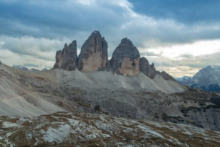Tre Cime di Lavaredo in beautiful surroundings in the Dolomites at sunset in Italy, Europe (Drei Zinnen)
