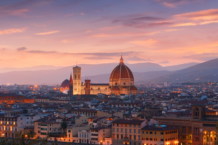 Beautiful views of Florence cityscape in the background Cathedral Santa Maria del Fiore at sunset in Italy, Europe