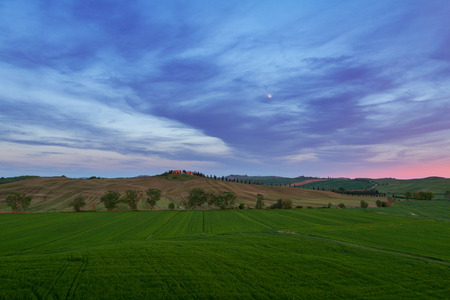 Typical Tuscany landscape springtime at sunset  in Italy,Europe Stock Photo