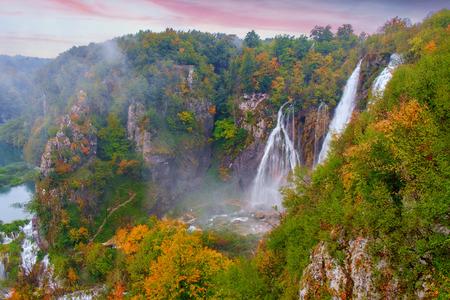 Waterfall the Plitvice Lakes in autumn in Croatia
