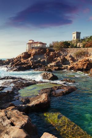 castle rock: Boccale castle the sea near Livorno in Tuscany region in Italy