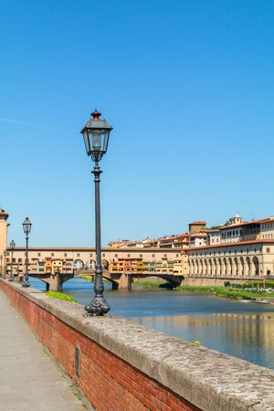 Florence town and the Ponte Vecchio bridge the Arno river in Italy, Europe