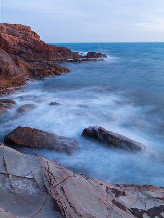 livorno: Rocks on the coast near Livorno in Tuscany region in Italy