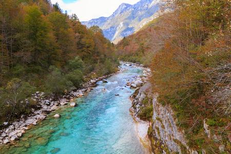 Beautiful Soca river at autumn in the Triglav National Park in Slovenia,Europe