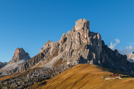 Dolomites mountains the Passo di Giau, Monte Gusela at behind  Nuvolau gruppe in South Tyrol, Italy