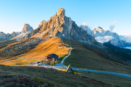 sella: Dolomites mountains the Passo di Giau, Monte Gusela at behind  Nuvolau gruppe in South Tyrol, Italy
