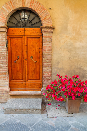 Beautiful medieval town of narrow streets and charming porch in Montepulciano ,Italy Stock Photo