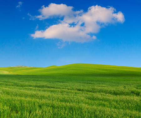 Tuscany landscape, beautiful green hills springtime in Italy,Europe Stock Photo